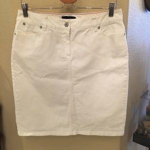TALBOTS White Denim Skirt Size 10P